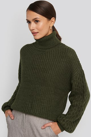 Dark Green Sleeve Detailed Knitted Polo Sweater