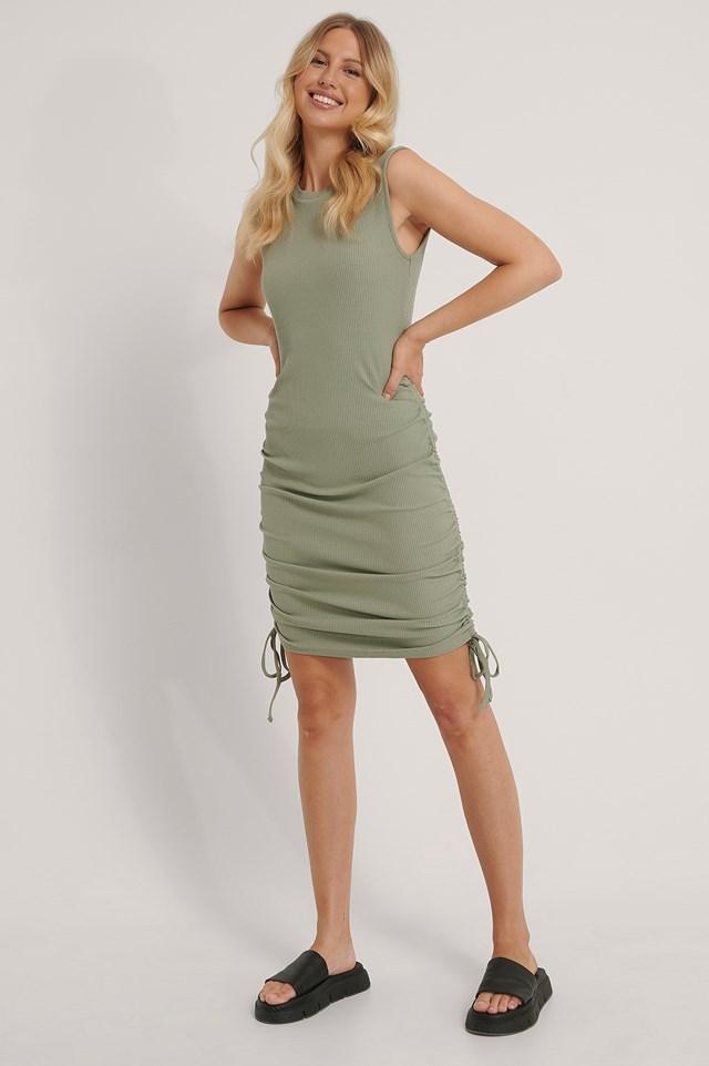 Sleeveless Drawstring Dress Khaki