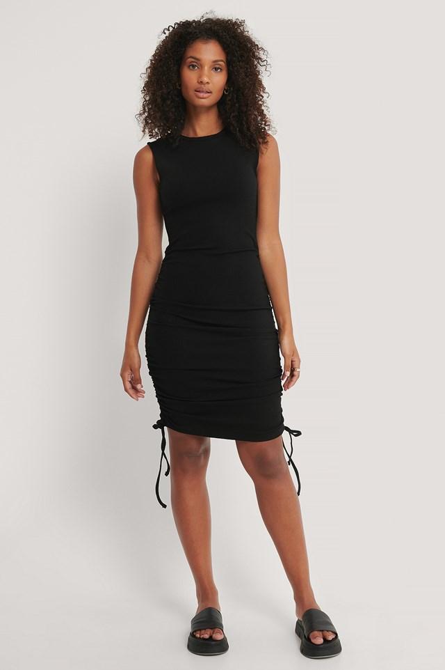 Sleeveless Drawstring Dress Black