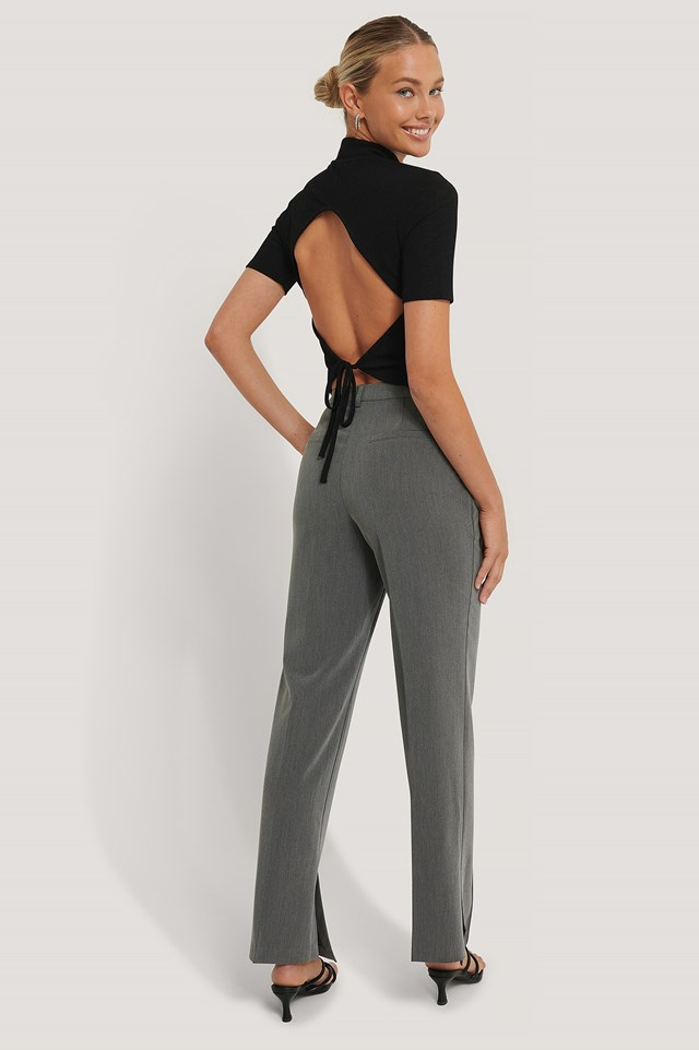 Side Slit Tailored Pants Grey