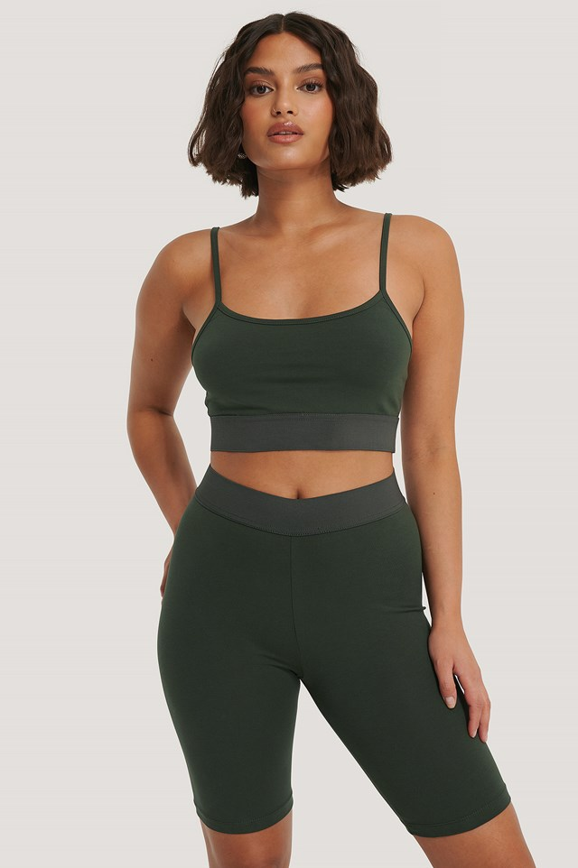 Organic Slim Cropped Top Khaki