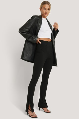 Black Slim-fit Super Stretch Slit Pants
