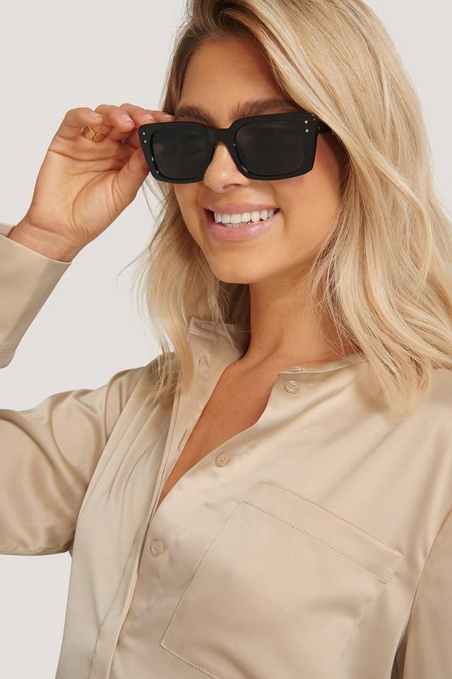 Slim Rectangular Wide Frame Sunglasses Black