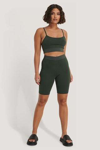 Khaki Slim Short Tights