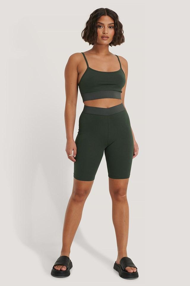 Organic Slim Short Tights Khaki