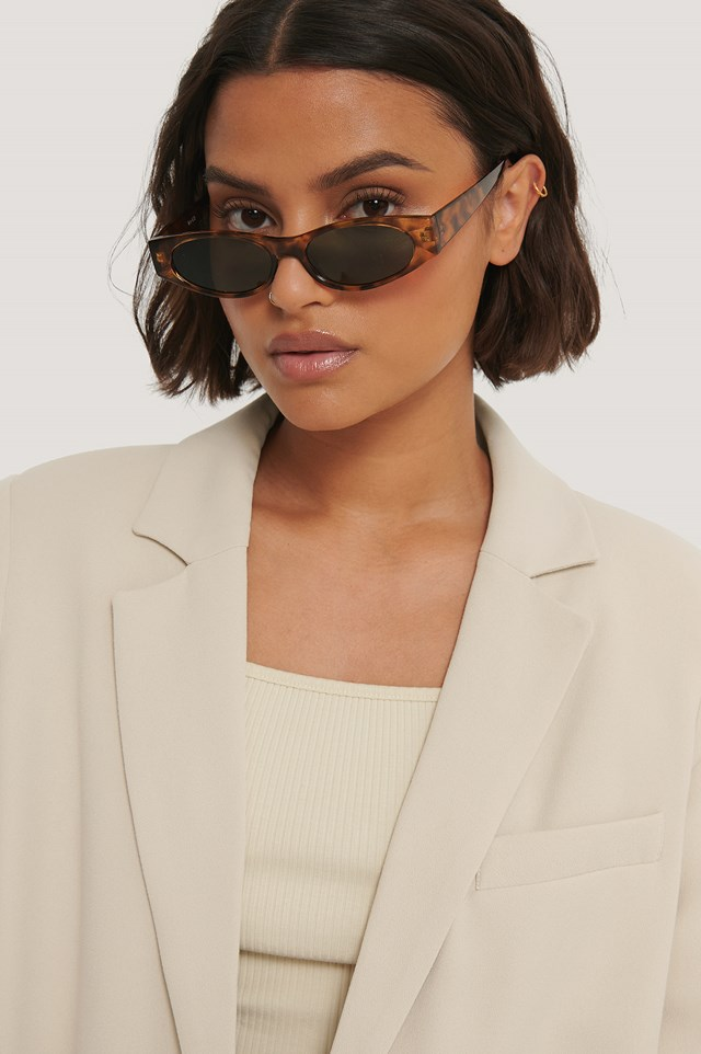Slim Straight Edge Sunglasses Tortois