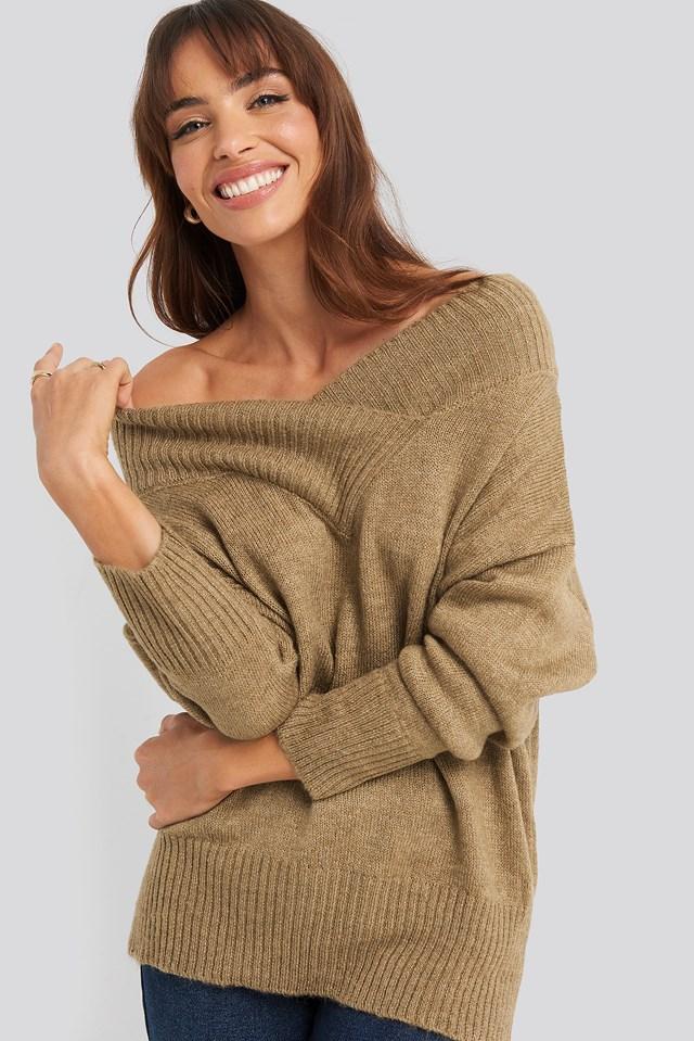 Beige Slip Shoulder Knitted Sweater