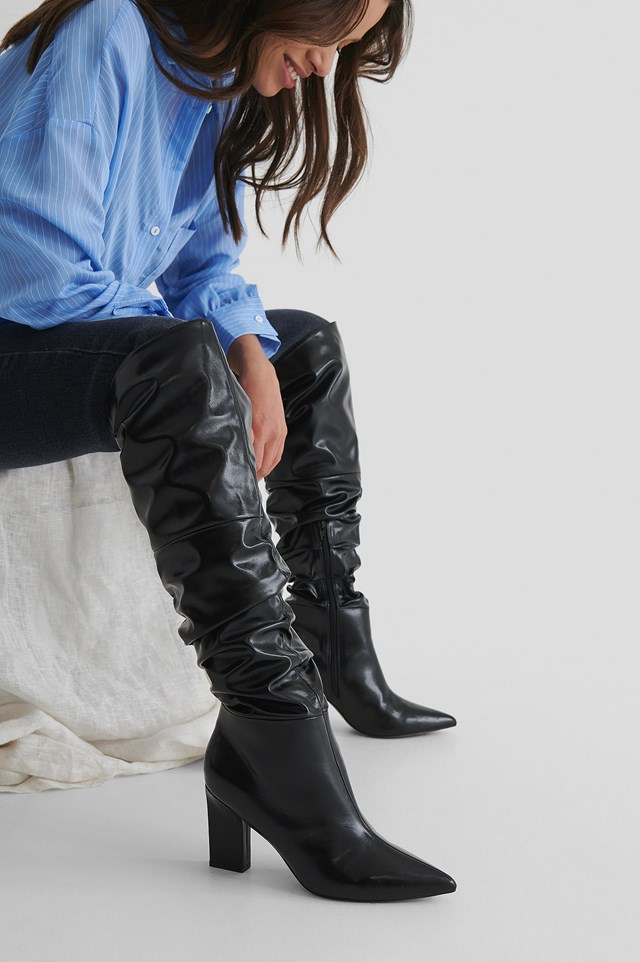 Slouchy Shaft Knee Boots Black