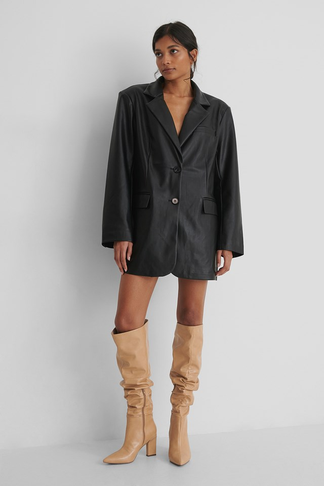 Slouchy Shaft Knee Boots Caramel