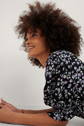 Purple Flower Smock Puff Sleeve Square Neck Top