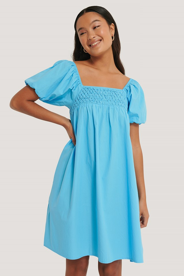Smocked Cotton Puff Sleeve Dress Strong Blue