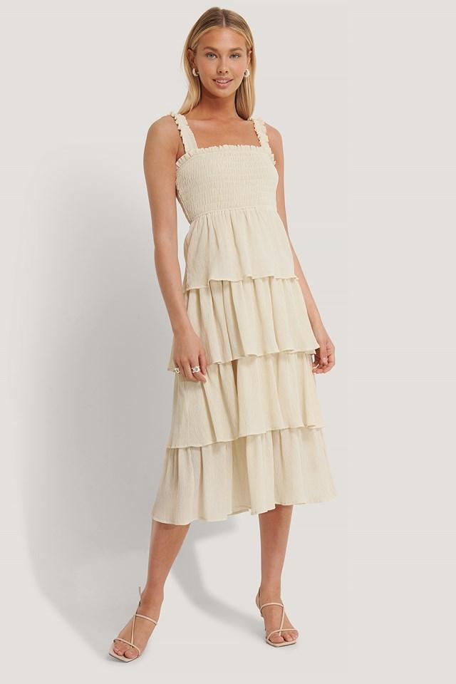 Smocked Flowy Midi Dress Sand Stone
