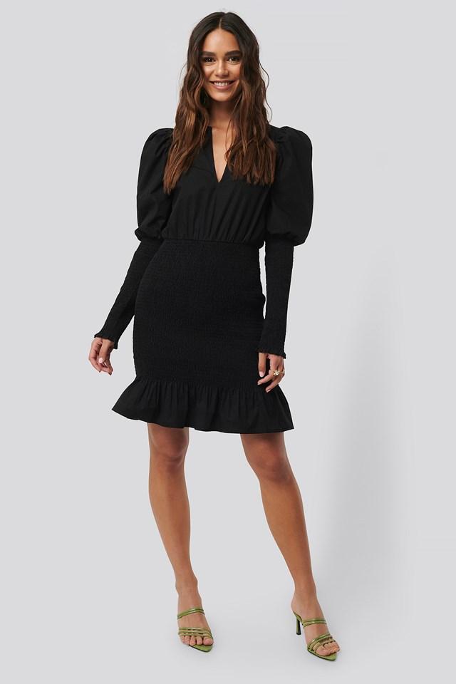 Smocked LS Puff Sleeve Dress Black