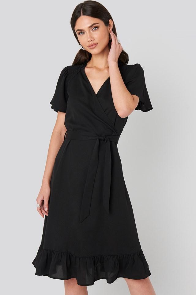 Smocked Shoulder Belted Frill Dress Black