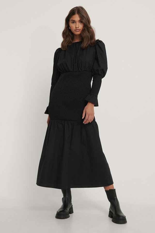 Smocked Sleeve Dress Black