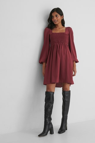 Burgundy Smocked Square Neck Dress