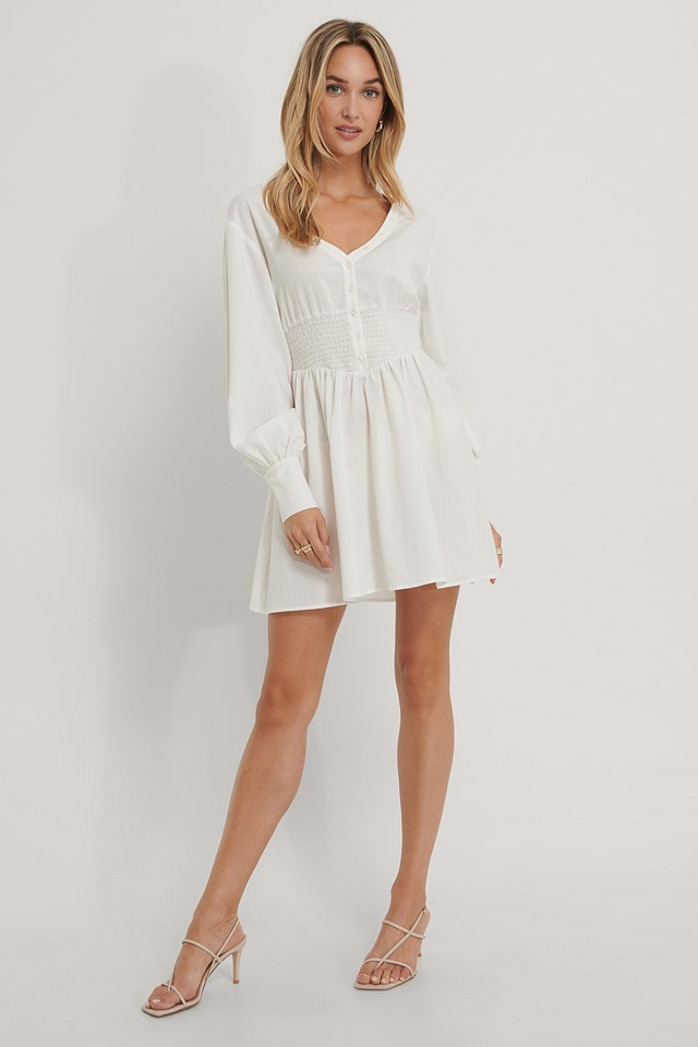 Smocked Waist Balloon Sleeve Dress White