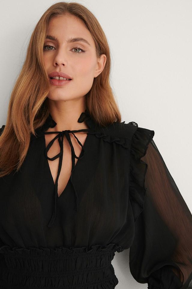Black Smocked Waist Blouse