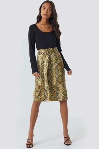 Snake Print Snake Printed Belted PU Skirt