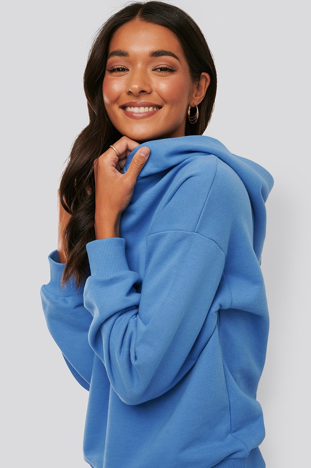 Snap Button Hoodie Blue