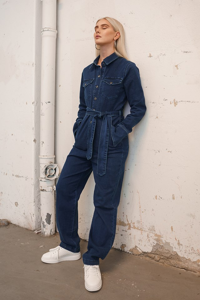 Front Pocket Denim Jumpsuit Dark Blue