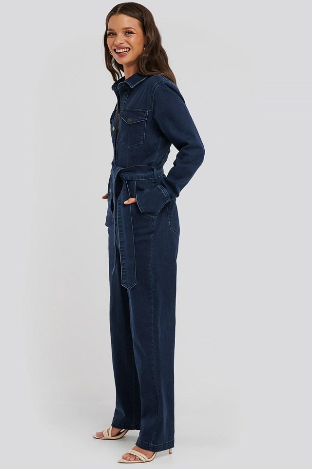 Front Pocket Denim Jumpsuit Dark Blue