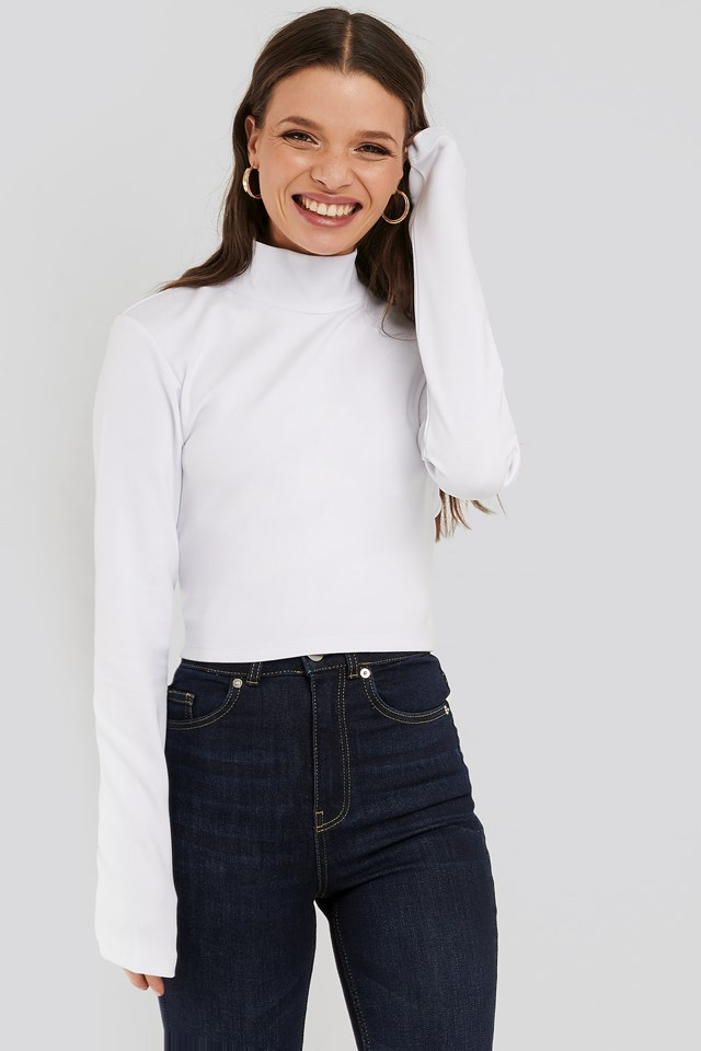 Open Back High Neck LS Top White