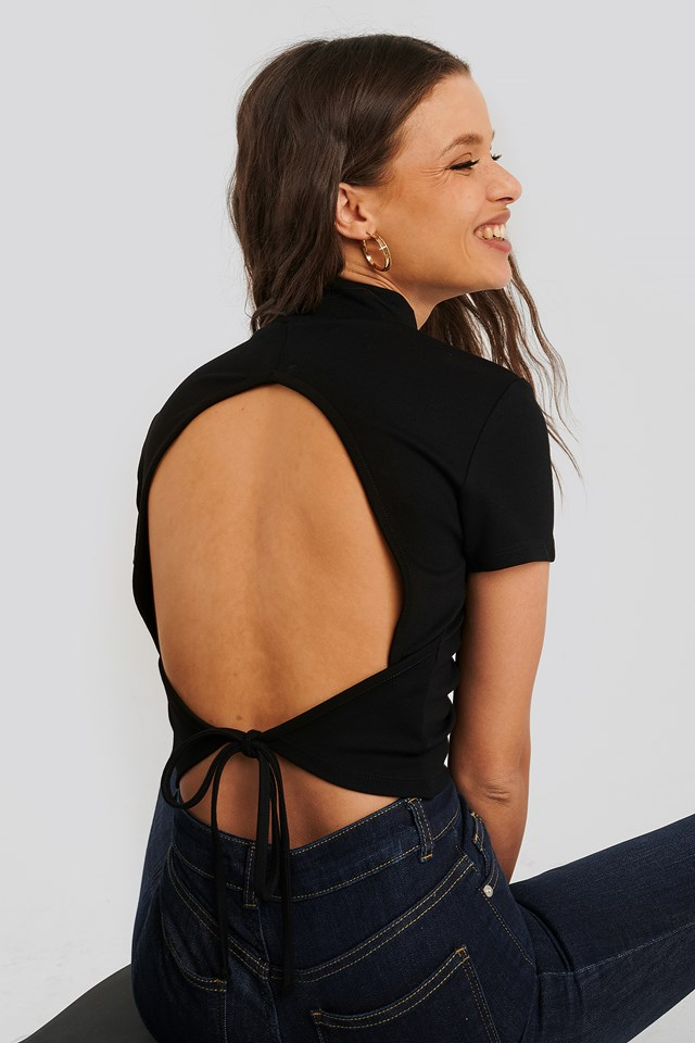 Open Back High Neck Top Black