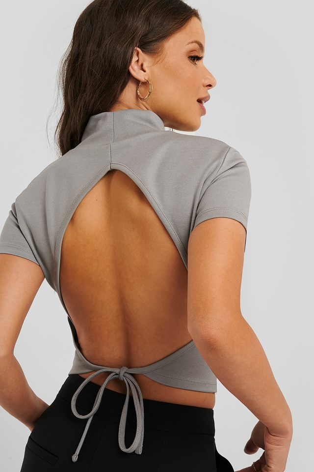 Open Back High Neck Top Grey