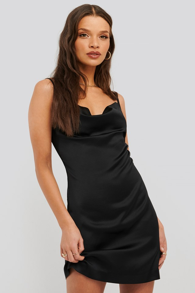 Satin Slip Dress Black