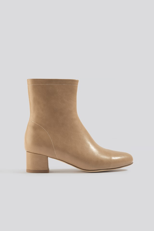 Soft Ankle Boots Beige