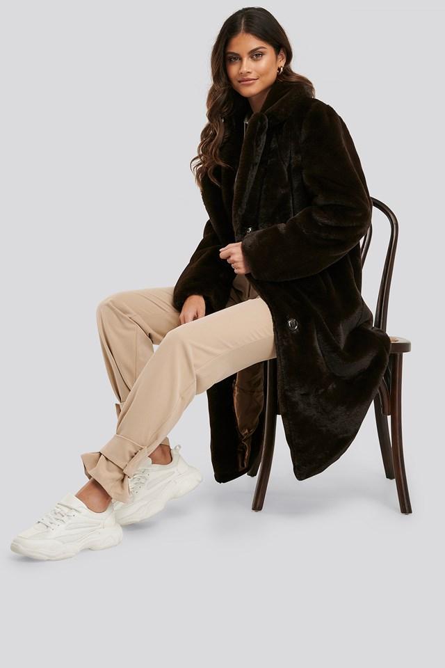 Soft Faux Fur Long Jacket Brown
