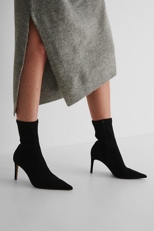Soft Pointy Stiletto Boots Black