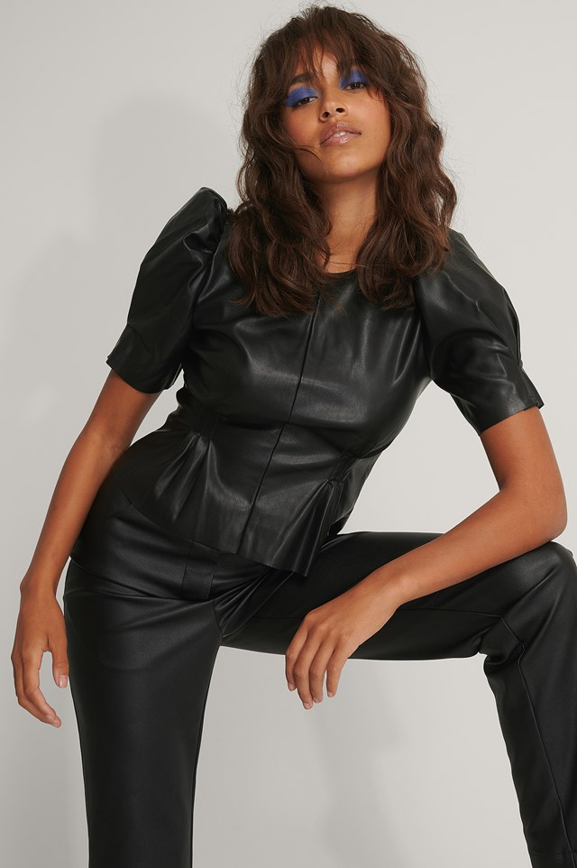 Soft Pu Puff Sleeve Blouse Black