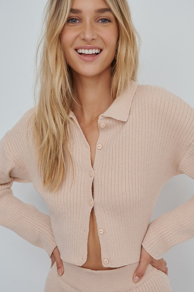 Soft Ribbed Cardigan Pink