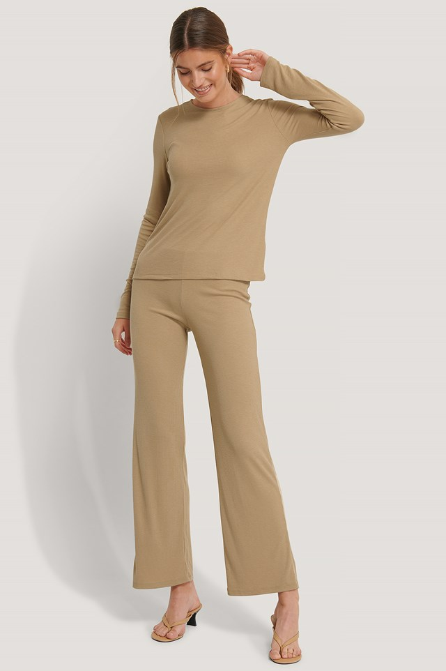 Soft Ribbed Wide Basic Pants Beige