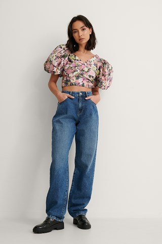 Mid Blue Organic Soft Rigid Oversized Long Jeans