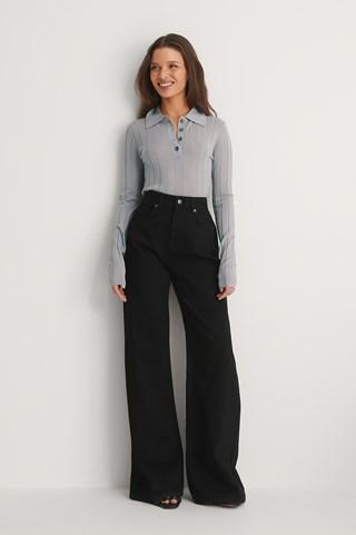 Black Organic Soft Rigid Wide Jeans