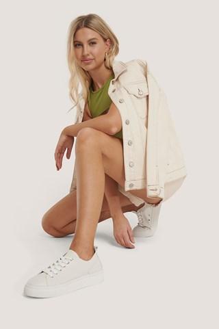 White Soft Upper Basic Sneakers