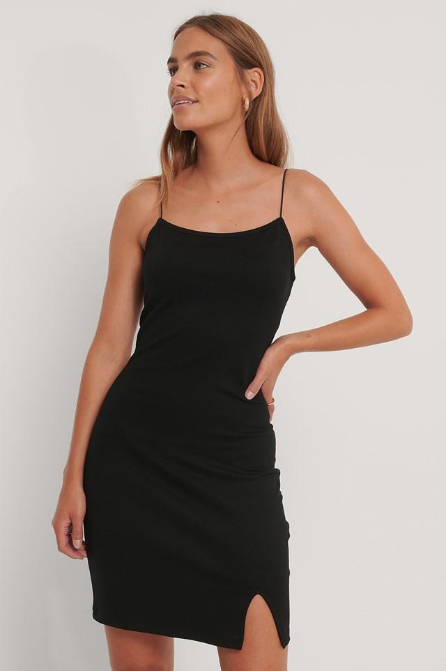 Spaghetti Strap Slit Dress Black