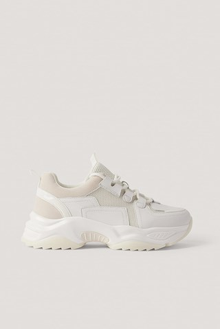 White Spiky Profile Chunky Trainers