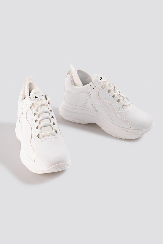 Sporty Faux Suede Sneakers White