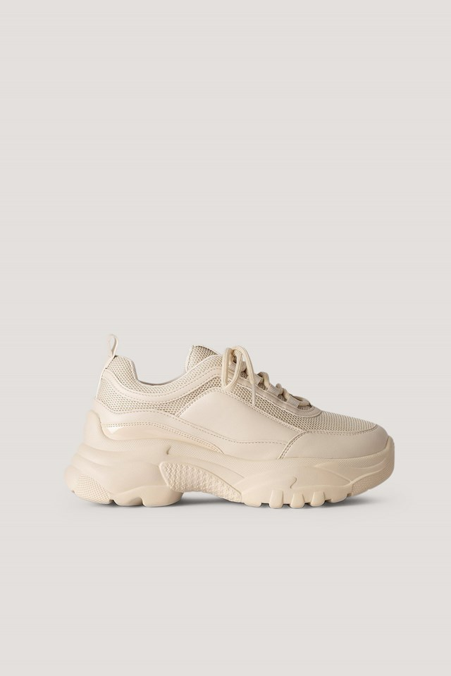 Sporty Mesh Trainers Nude