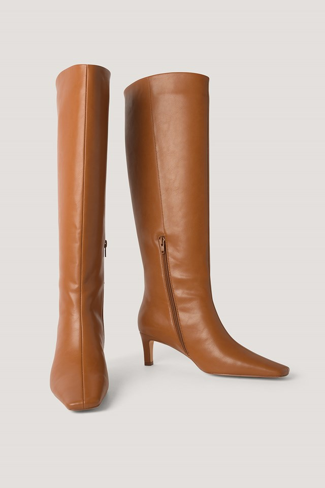Squared Long Toe Shaft Boots NA-KD Shoes