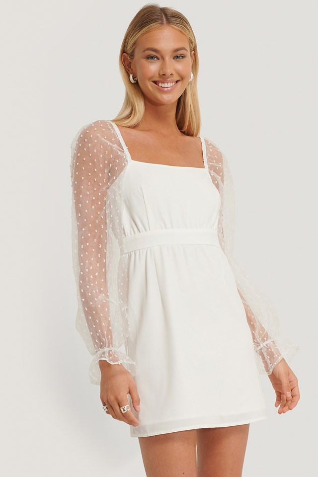 Square Neck Chiffon Mini Dress Offwhite