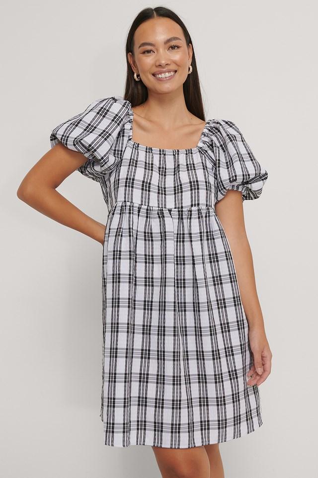Square Neck Seersucker Dress Black Check