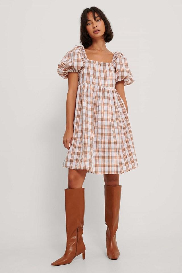 Square Neck Seersucker Dress Light Beige Check