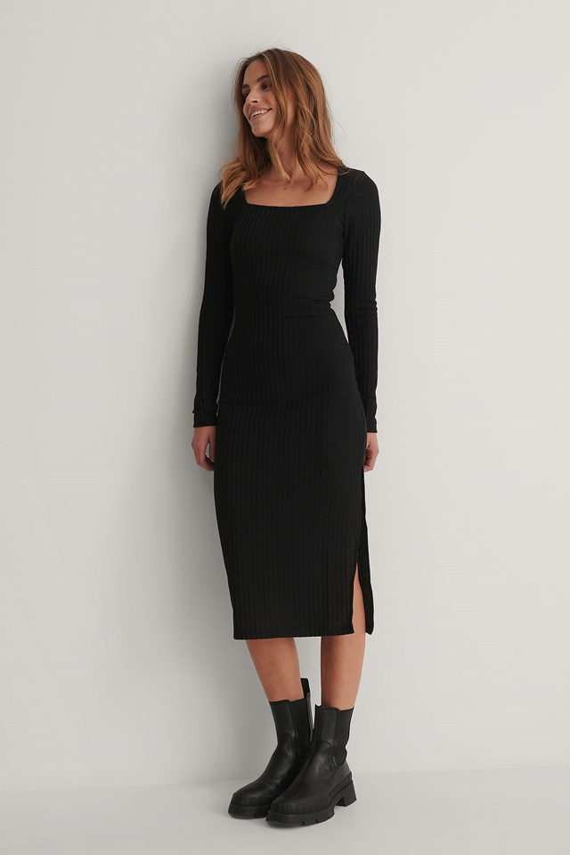 Square Neck Slit Detail Dress Black