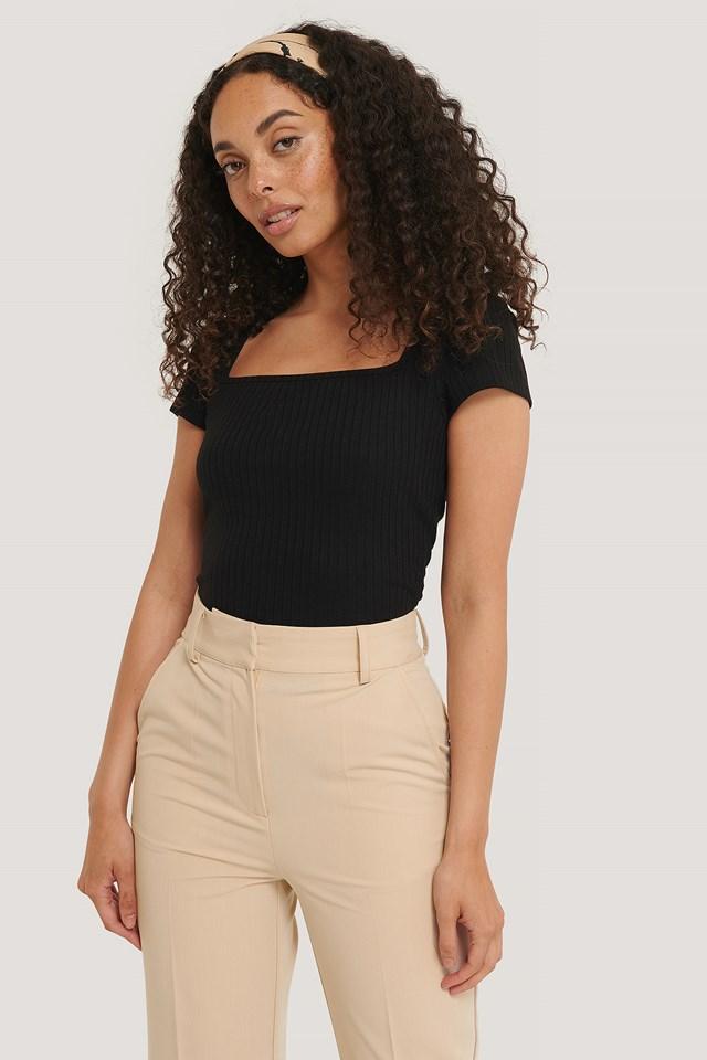 Square Short Sleeve Top Black