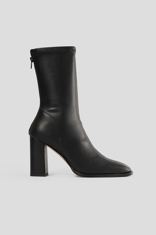 Black Squared Toe Soft Boots